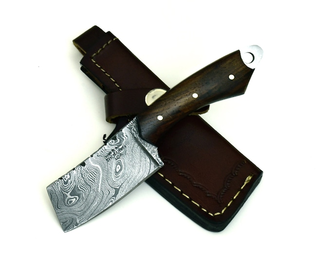 "DAMASCUS KNIFE PERSONALIZE, damascus steel neck knife camping utility hunting knife 6"" cleaver damascus steel blade, damascus knives"