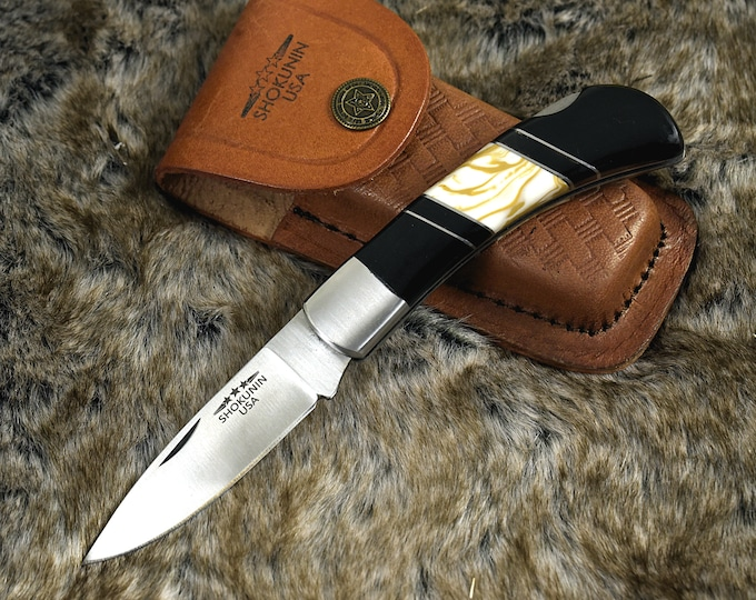 "Personalized Pocket knife, Drop Point, 7.25"", Folding Knife, groomsman gift, 1095 Steel, hunting knife, Resin Inlay Handle, Custom"