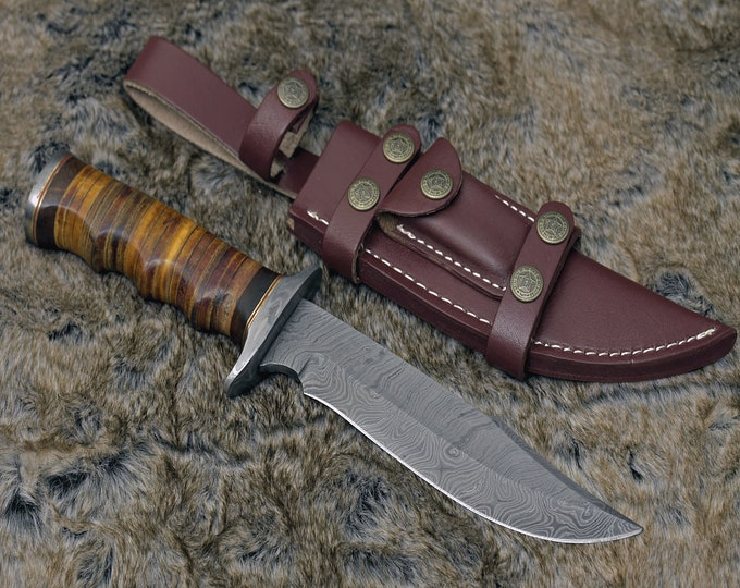 "DAMASCUS HUNTING KNIFE, Custom Damascus knife, 12.0"" ,Hand forged, Damascus steel bowie knife, Damascus Guard, Stacked Leather handle"