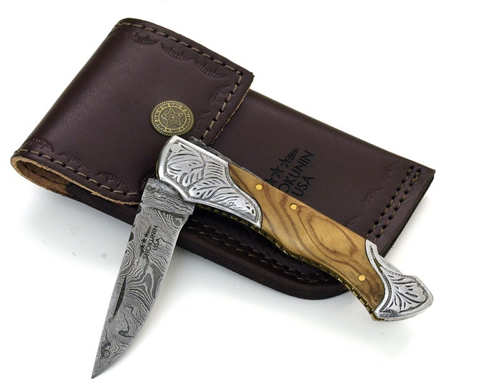 "DAMASCUS Knife, Folding knife, Pocket knife, EDC damascus steel hunting utility knife tactical camping knife 7"" Every day carry OLIVE"