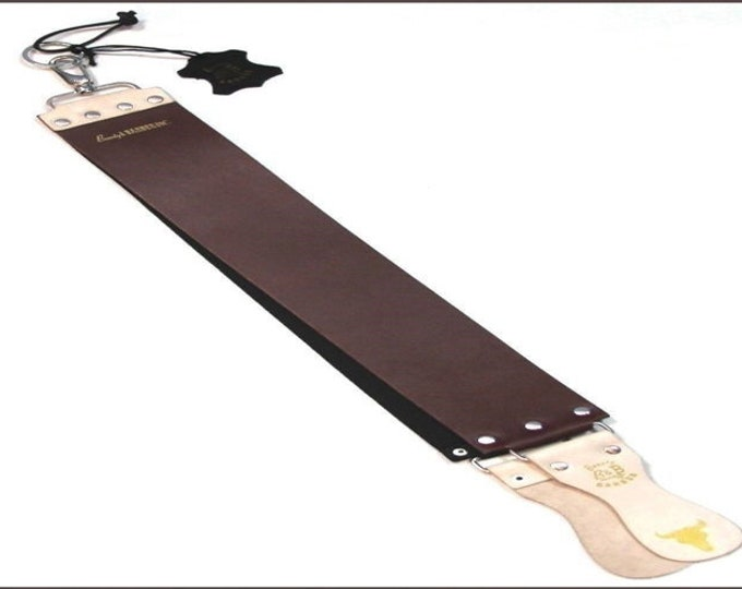 "HAND CRAFTED, Double Sided Cowhide Leather Strop With Leather Handle MAGNUM 3.45"" wide"