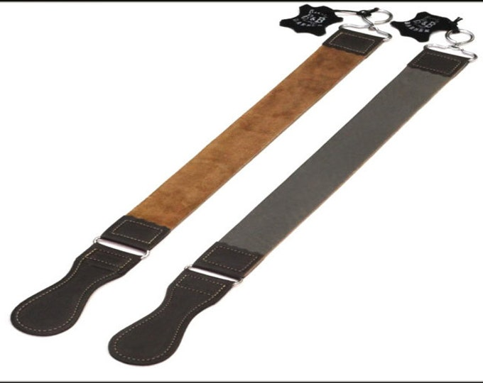 """Personalize Hand Crafted, Double Sided Leather Strop For Straight Razors 2"""" wide 21 """" long"""