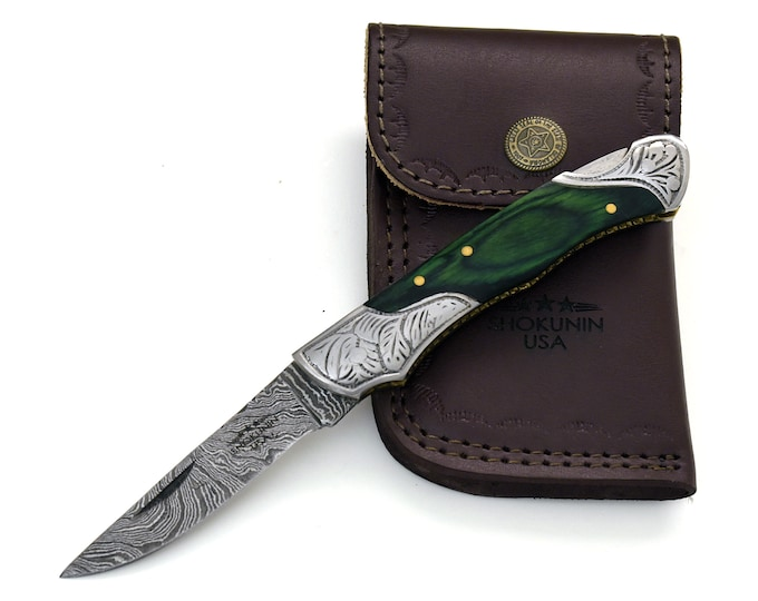 """DAMASCUS Knife, Folding knife, Pocket knife, EDC damascus steel hunting utility knife tactical camping knife 7"""" Every day carry GREEN"""