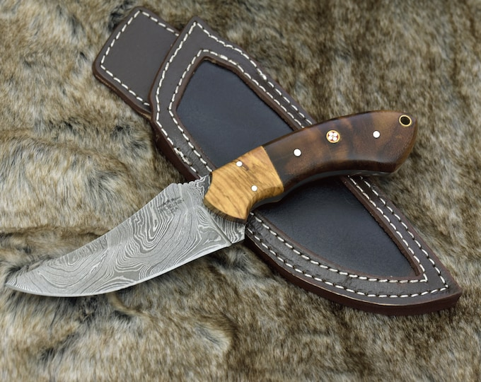 """9.0"""" Custom Damascus Steel knife, Damascus knife skinning tactical camping utility hunting knife w/ hand stitched leather Personalized"""