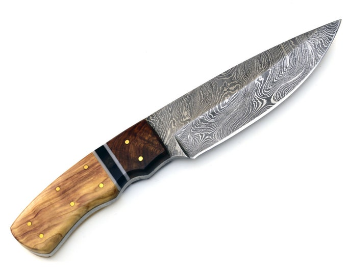 "Personalized, Engraved,DAMASCUS knife, damascus steel knife, tactical camping utility hunting knife 9"" olive & walnut wood 3491-1"