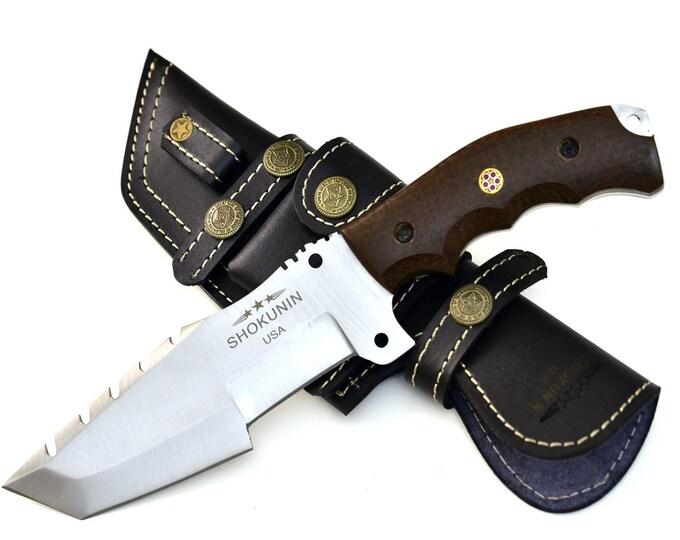 "BOA D2, HUNTING KNIFE, 10"", D2 Steel knife Tracker knife tanto point saw teeth blade knife w/ Micata handle, full tang, Durable Edge"