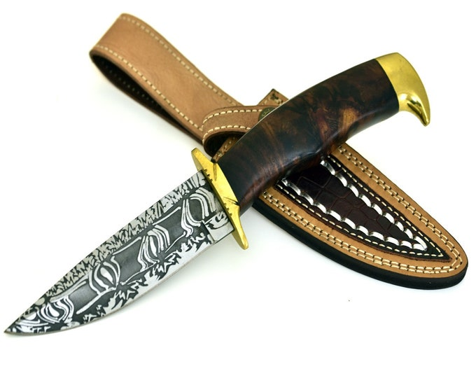 Personalize, ART, HAND FORGED D2 steel hunting knife with nicely figured walnut burl wood handle