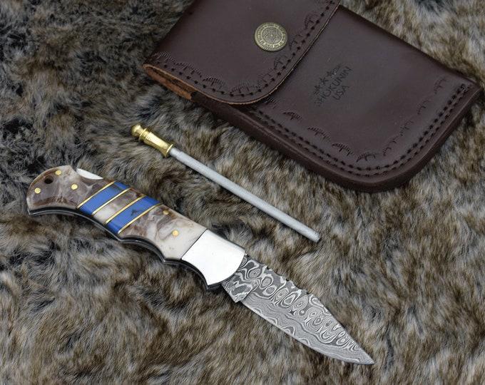 """Damascus pocket knife, 6.5"""", Custom, Damascus Folding knife, Damascus Steel Knife, Personalized Damascus knife"""