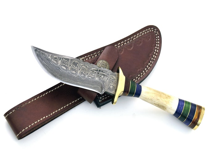 "8.0"" Custom Damascus knife, Damascus steel hunting knife tactical camping utility knife with hand stitched leather sheath stag handle"