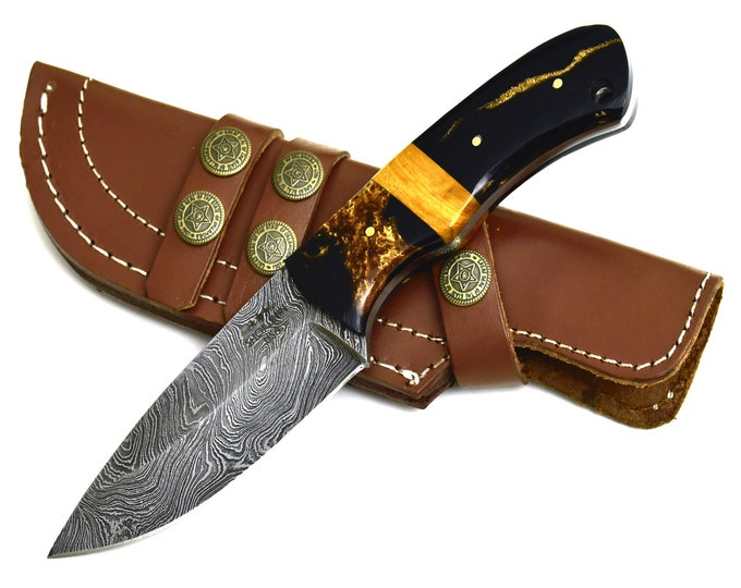 "BOA, Damascus steel FIRE Pattern hunting knife tactical camping utility knife 10"" 30039"