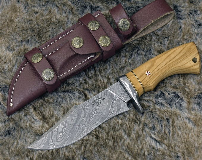 "DAMASCUS BOWIE KNIFE, Damascus Hunting Knife, tactical camping utility Bowie knife 10"" custom, Olive wood handle personalize, leather sheath"