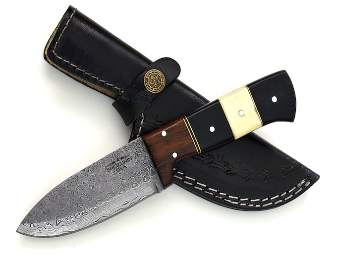 "DAMASCUS KNIFE, DAMASCUS steel knife, damascus, hunting knife, steel tactical camping utility hunting knife 8"" 3490-3 custom"