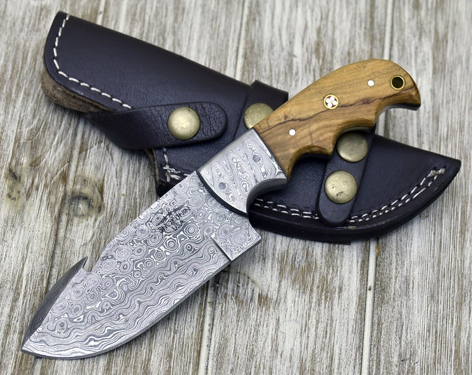 "DAMASCUS KNIFE, DAMASCUS steel knife, damascus, hunting knife, steel tactical camping utility hunting knife 8"" 3490-3 custom, Olive wood"
