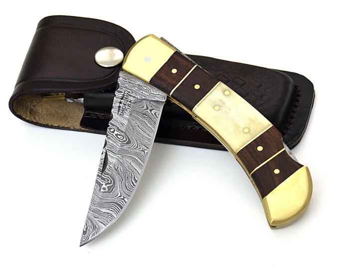 "8.75"" pocket Knife, personalized, Custom, Hand Made, hand Forged, Damascus Steel, Hunting knife, bone & Bolivian rose wood scales. damascus"