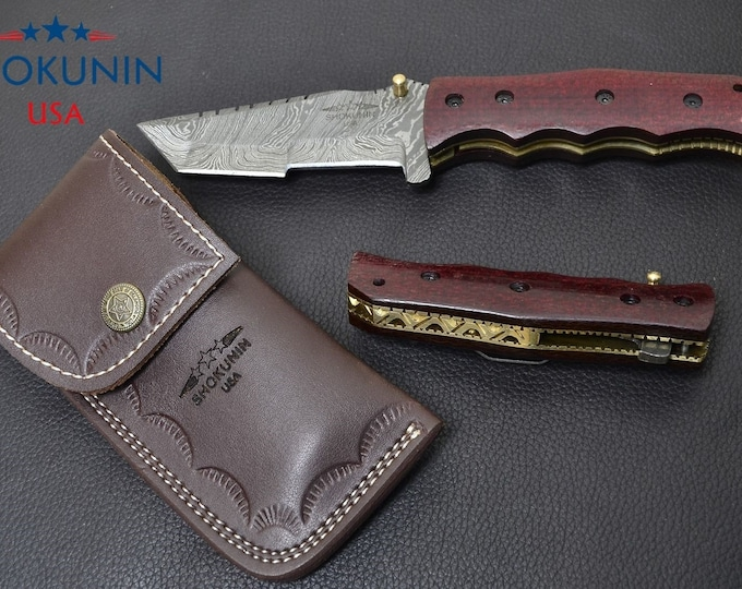 DAMASCUS FOLDING KNIFE, damascus knife, damascus every day carry, damascus folder Tanto blade pocket knife / with leather sheath 7""