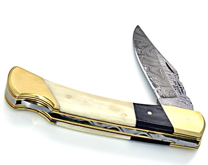 "8.75"" Folding Damascus Knife Custom Hand Made Forged Damascus Steel Hunting Bowie knife whale bone & buffalo horn composite, brass body G10"