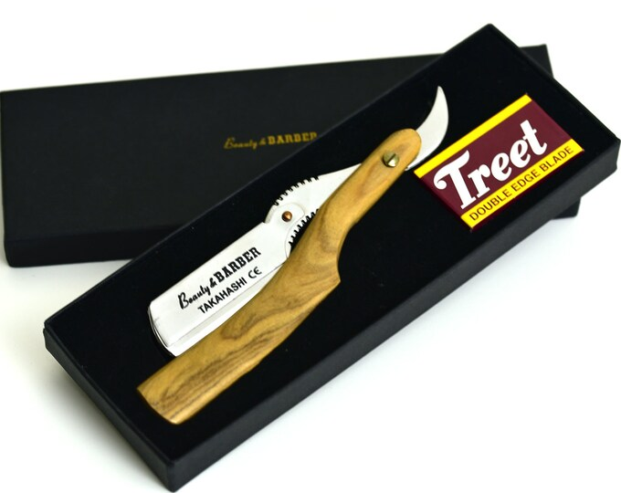 Personalized laser engraved Olive wood Straight razor with 20 double edge replaceable blades
