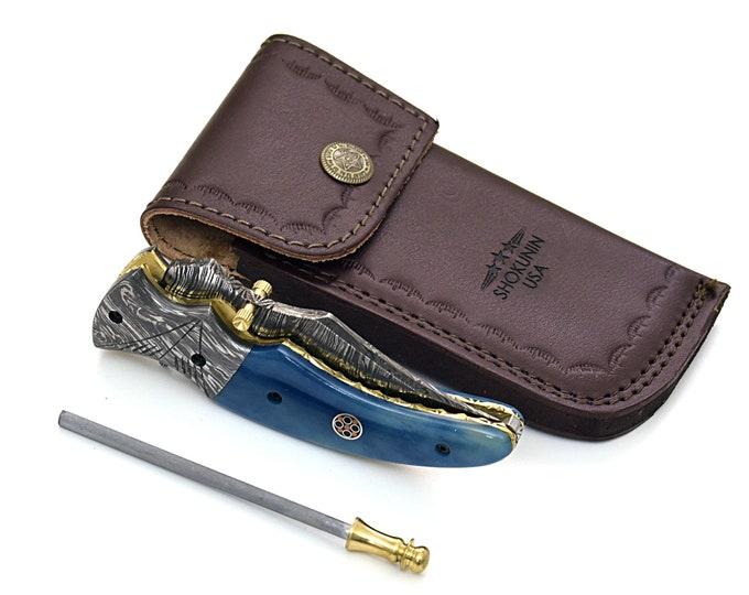 "POCKET KNIFE, 7.5"" inch folding knife, every day carry, EDC, Damascus folder pocket knife, folding pocket knife, bone handle, Custom"