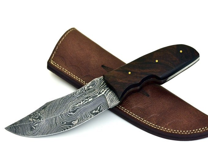 ARES, HAND FORGED Damascus steel hunting camping tactical utility knife highly figured Walnut wood handle fire 30-029