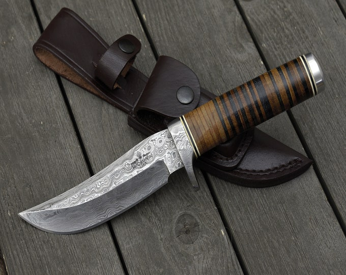 """DAMASCUS KNIFE, Custom Damascus steel knife, 10.5"""" ,Hand forged, Damascus Bowie knife, Damascus Guard, Full Tang, Stacked Leather Handle"""