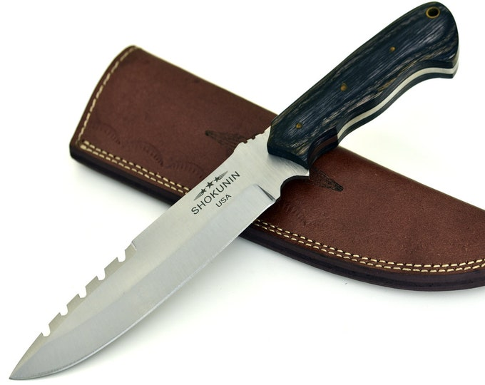Stealth, D2 Steel / Die Steel / Carving Knife / Wood Micarta Handle / Lanyard Hole
