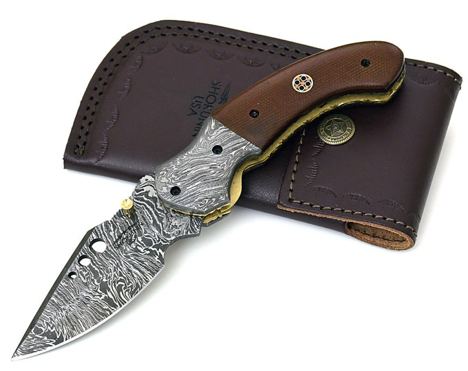 POCKET KNIFE, folding knife, every day carry, Damascus folder pocket knife, folding pocket knife, Micarta handle, Custom