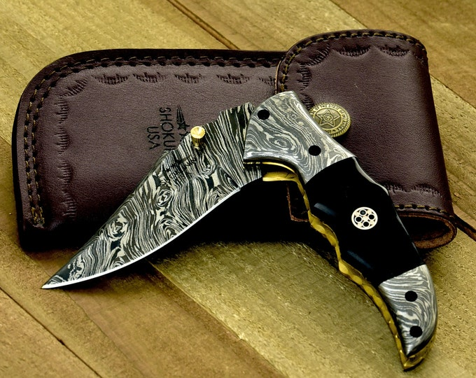 "Pocket knife, personalized, 7.25"", Folding knife, Custom, Hand Made, Hand Forged, Damascus pocket knife, Horn Handle, Damascus folding knife"