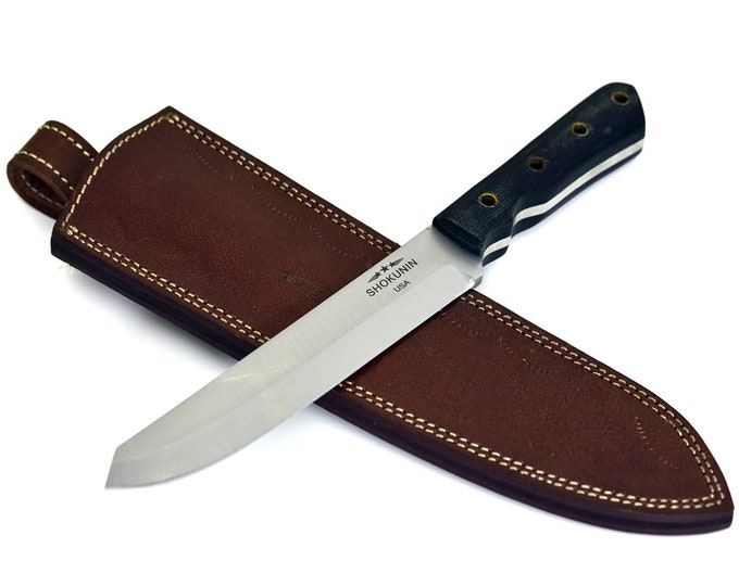RAPTOR, D2 Steel / tool steel / Spey blade Knife / Denim Micarta Handle / 4 Lanyard Holes / Castarator Skinning speying trapper