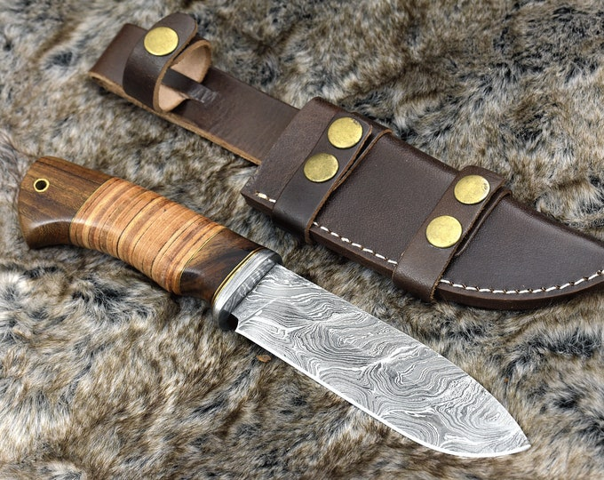 """DAMASCUS KNIFE, DAMASCUS steel knife, damascus, hunting knife, steel tactical camping utility Bowie knife 10"""" 3490-3 custom, Rose wood"""