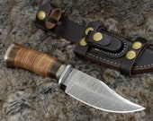 "DAMASCUS HUNTING KNIFE, Custom Damascus knife, 10"" ,Hand forged, Damascus steel knife, Damascus Guard, Rose wood & Leather Handle"