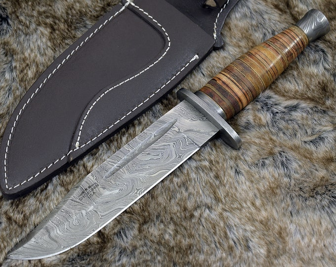 "CUSTOM DAMASCUS KNIFE, Hand Made, 12.0"" Damascus steel hunting knife, Bowie knife, Damascus Guard and stacked leather handle, full tang"