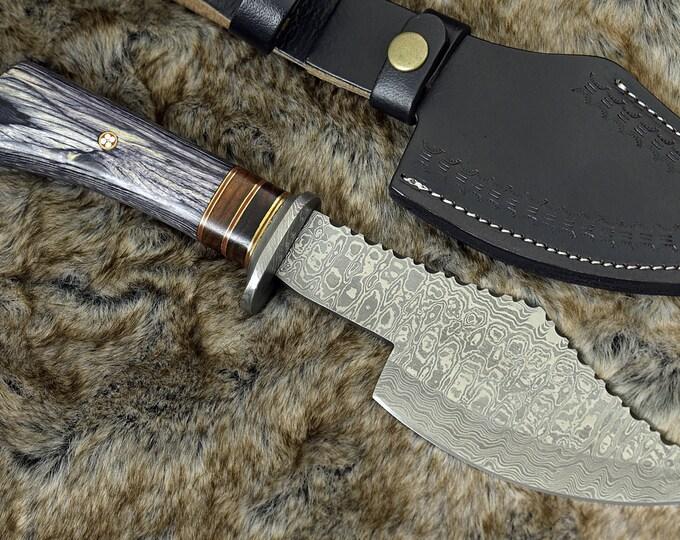 "DAMASCUS AXE, CUSTOM Kitchen axe, 12.0"" , Hand Made, Damascus steel kitchen axe, Damascus Guard, pekkawood handle, full tang"