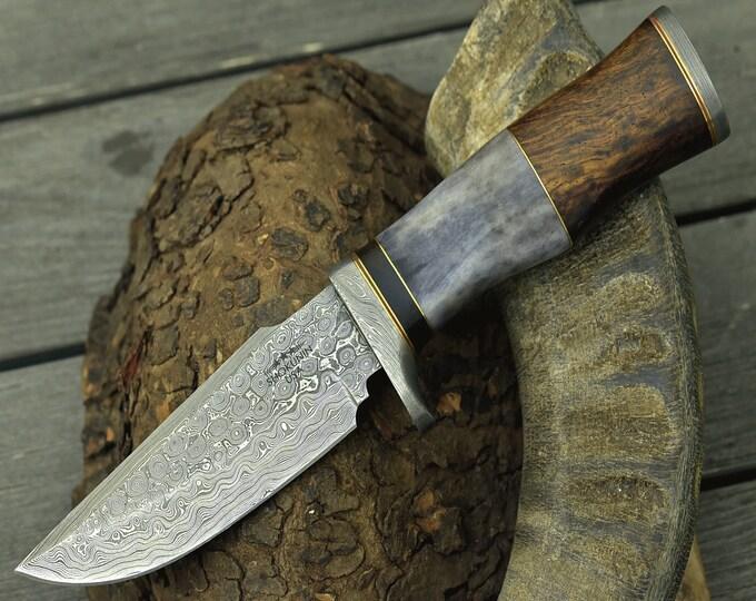 "DAMASCUS KNIFE, Custom Damascus steel knife, 10.0"" ,Hand forged, Damascus skinning knife, Damascus Guard & Pommel, Camel bone  wood handle"