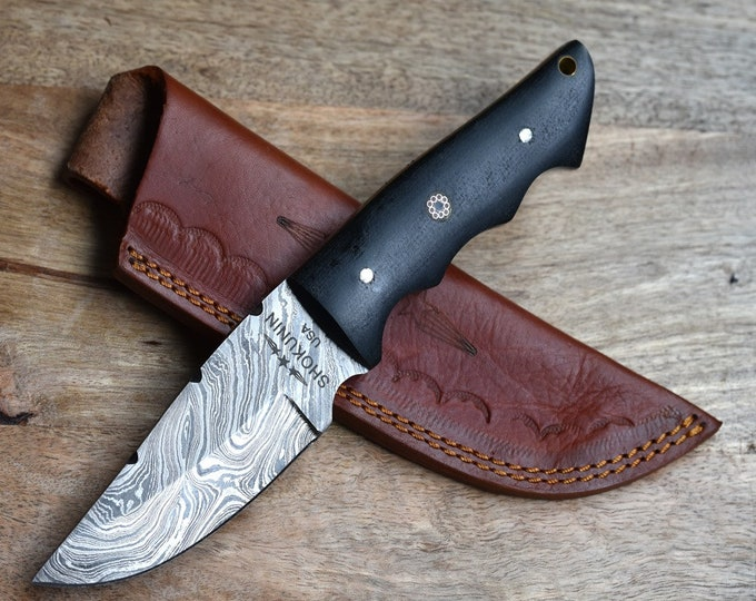 """ZEUS, Damascus steel knife, damascus knife, FIRE Pattern hunting knife tactical camping utility knife 9"""" Micarta Handle 30001"""