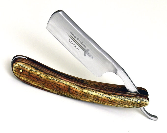 Straight Razor German high speed steel mahogany wood handle by B&B