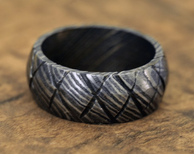 Damascus Ring, Hand Forged & Finished Damascus Steel Ring, Hand Carved, US size 9 ring, wedding band, engagement ring, rings, bands