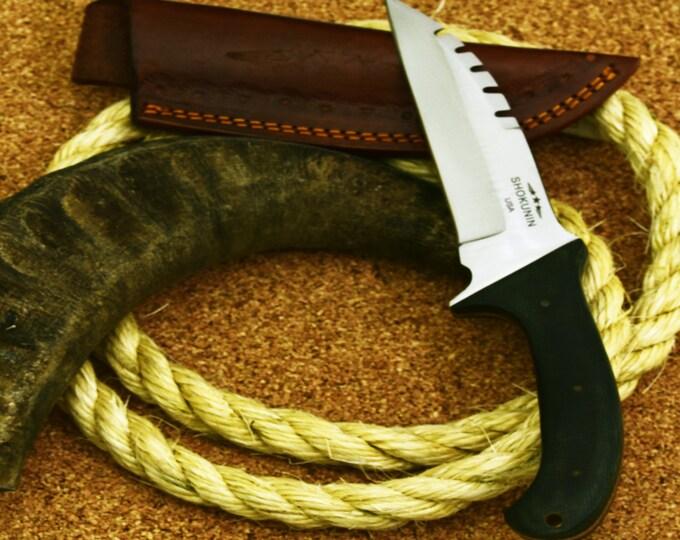 Jonas, Wharncliffe Custom D2 tool & Die Steel Hunting Knife with Denim Micarta Handle