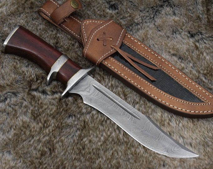 """CUSTOM, 14.5"""", DAMASCUS KNIFE, Hand Made, Damascus steel hunting knife, Bowie knife, Damascus Guard, Exotic Red Heart Wood Handle, full tang"""