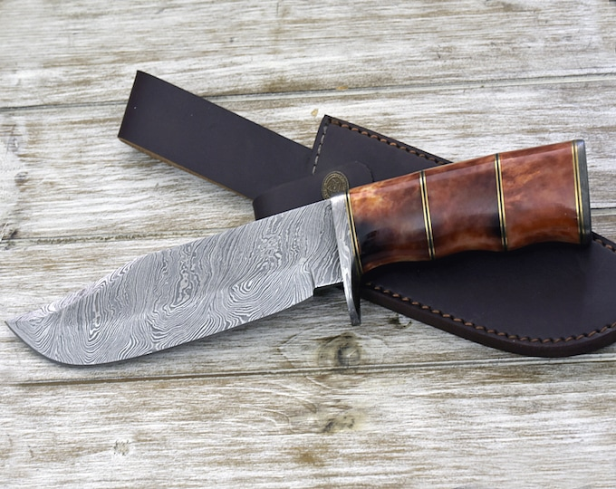 "CUSTOM DAMASCUS KNIFE, Hand Made, 13"" Damascus steel hunting knife, bowie knife, Damascus Guard and Bone handle, full tang"
