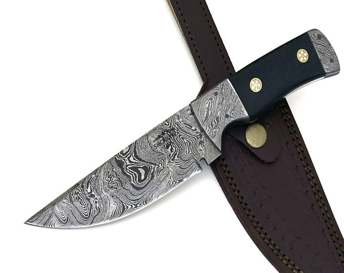 "CONNOR, Damascus Steel 153 Layers with Ram Horn Handle Hunting Knife 9"" Damascus blade, damascus hunting knife, damascus steel knife"
