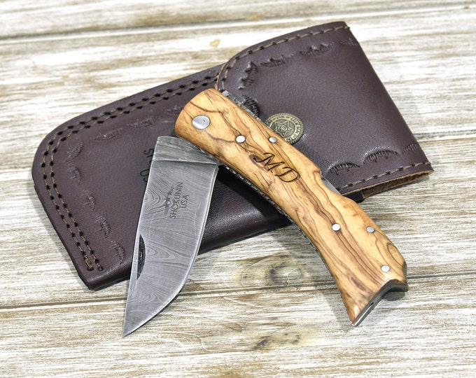 POCKET KNIFE, Damascus knife, every day carry, Damascus folder pocket knife, personalized knife, folding knife, olive wood, damascus