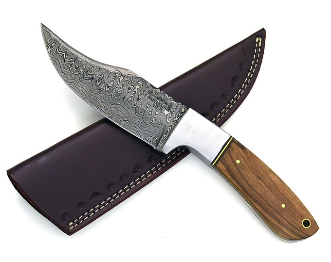 "9.0"" inch custom , Damascus knife, Damascus steel knife, clip point blade, olive wood handle, leather sheath, baby bowie knife"