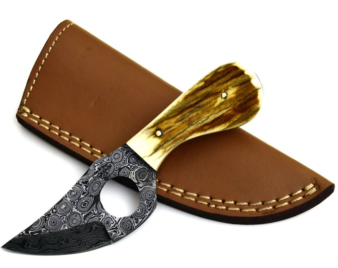 """Damascus knife, 6.0"""", Custom, Damascus steel  Stag horn handle hunting knife skinning knife with hand stitched sheath"""