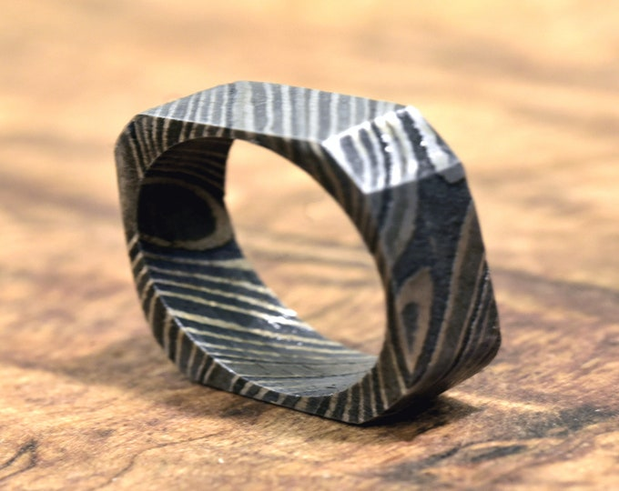 Hand Forged & Finished Damascus Steel Ring, Damascus Ring, Hand Carved, US size 7.75 ring, wedding band, engagement ring, rings, bands
