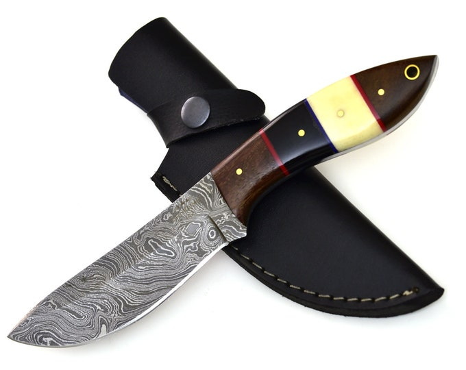"""DAMASCUS KNIFE, DAMASCUS steel knife, damascus hunting knife, steel tactical camping utility hunting knife 9"""" 3491-5"""