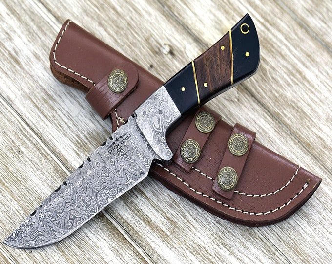 "DAMASCUS KNIFE, DAMASCUS steel knife, custom damascus, hunting knife, steel tactical camping utility hunting knife 9"" 3490-3 fire pattern"