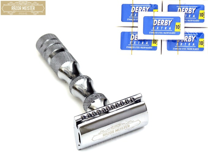 Double Edge Razor, RAZOR MEISTER PRIME, double edge safety razor, German Stainless Steel handle, closed comb 50 derby blades