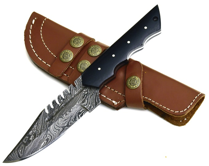 "DAMASCUS KNIFE, DAMASCUS steel knife, damascus hunting knife, steel tactical camping utility hunting knife 9.5"" 3491-5"