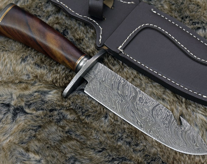 "DAMASCUS HUNTING KNIFE, Custom Damascus knife, 12.0"" ,Hand forged, Damascus steel knife, Damascus Guard & Pommel, Rose wood handle"
