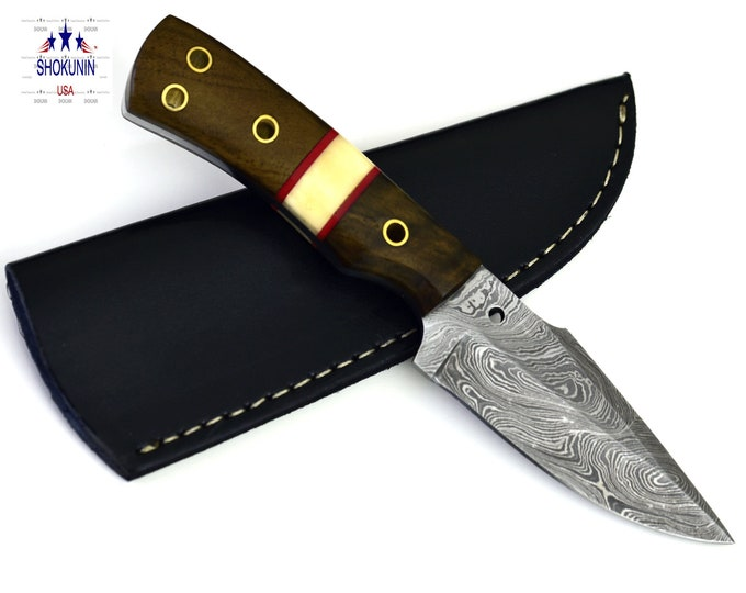 "8"" Damascus steel walnut wood handle hunting knife"